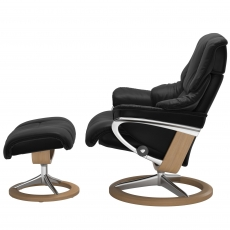 Stressless Reno Large Chair & Stool Signature Base