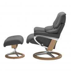 Stressless Reno Medium Chair & Stool Signature Base