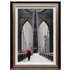 Brooklyn Bridge Meets Red Framed Print
