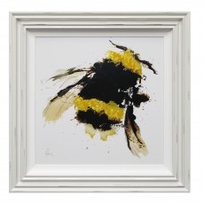 Scruffy Bumblebee Liquid Art I Framed Print