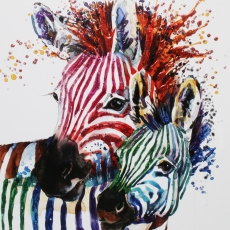 Party Zebras Liquid Art Framed Print