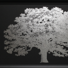 One Tree Silver Print with Silver Frame