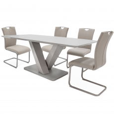 Cookes Collection Ralph Medium Dining Table & 4 Taupe Chairs