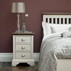 Cookes Collection Camden Soft Grey and Walnut 3 Drawer Nightstand
