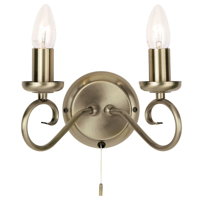 Antique Brass 2 Candle Wall Bracket