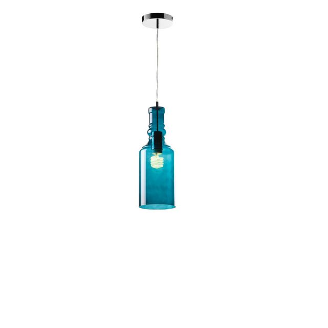 Chrome & Teal Glass Pendant