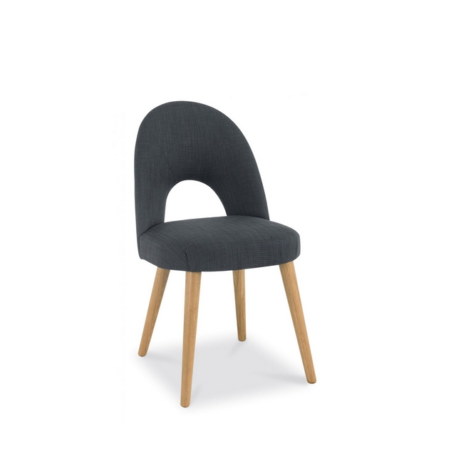 Cookes Collection Norway Oak Upholstered Chair In Steel Fabric
