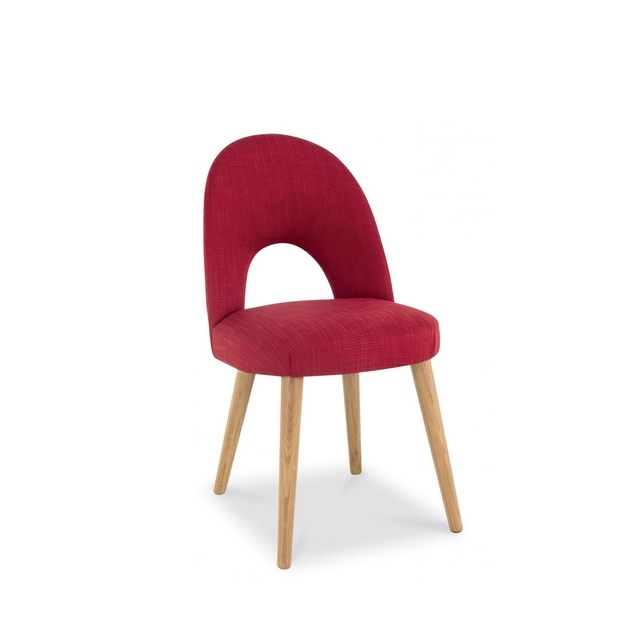 Cookes Collection Norway Oak Upholstered Chair In Red Fabric