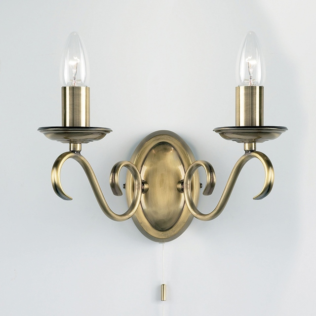 Antique Wall Bracket with 2 Candles