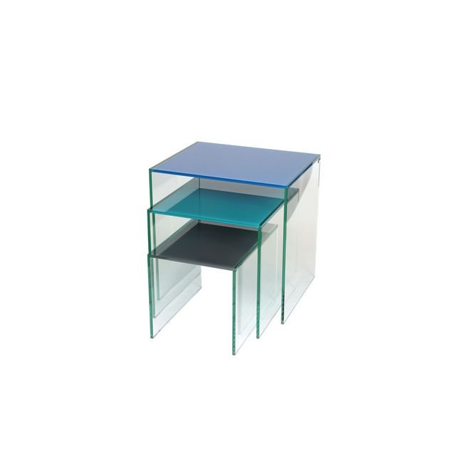 Nest of 3  Tables with Coloured Top