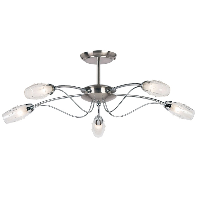 Chrome 5 Light Fitting w/Raindrops