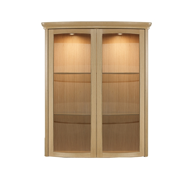 Nathan Shades Oak Shaped 2 Door Glass Display Unit