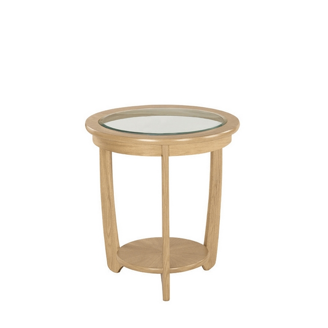 Nathan Shades Oak Glass Top Round Lamp Table Side Tables