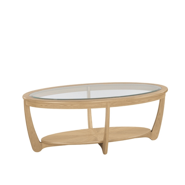 SHADES OAK Nathan Shades Oak Glass Top Oval Coffee Table