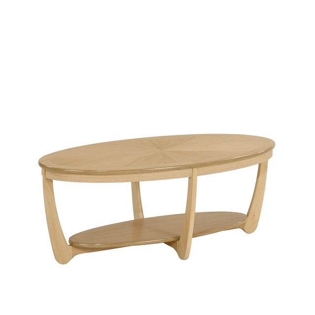 SHADES OAK Nathan Shades Oak Sunburst Oval Coffee Table