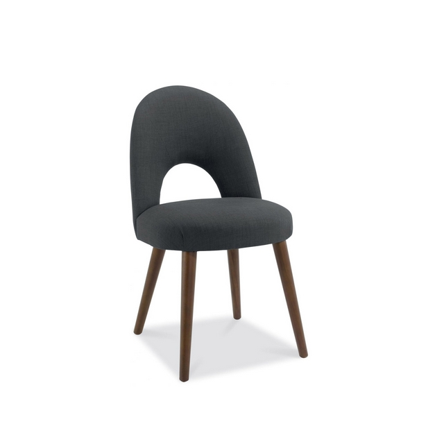 Cookes Collection Norway Walnut Upholstered Dining Chair In Charcoal Fabric