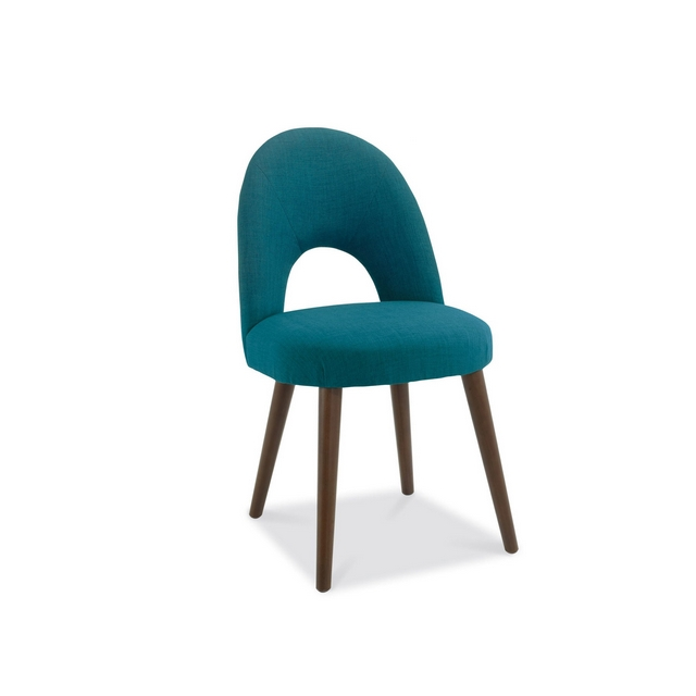 Cookes Collection Norway Walnut Upholstered Dining Chair In Teal Fabric