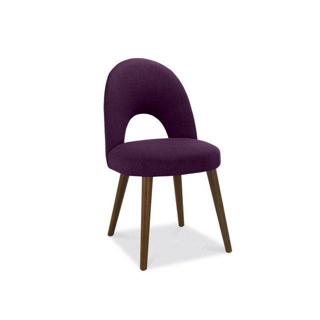Cookes Collection Norway Walnut Upholstered Dining Chair In Plum Fabric