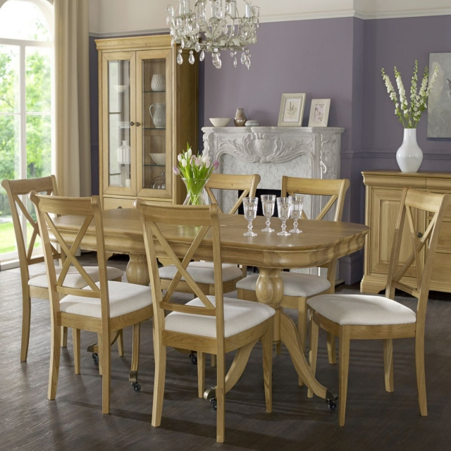 Cookes Collection Chateau Oak Dining Table And 6 X Back Chairs