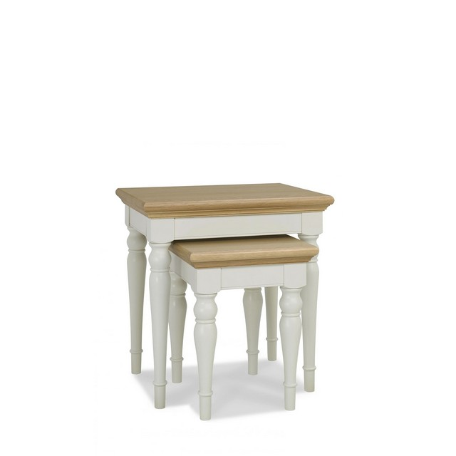 Cookes Collection Camden Soft Grey And Pale Oak Nest Of Tables
