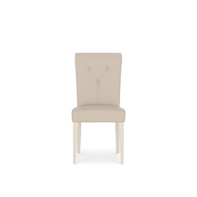 GENEVA PALE OAK & ANTIQUE WHITE DINING Cookes Collection Geneva Bonded Leather Dining Chair