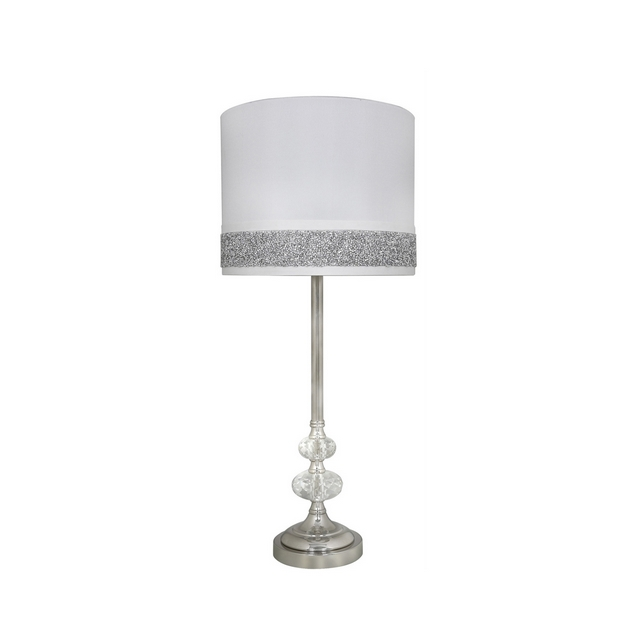 Crystal Cut Glass And Chrome Table Lamp