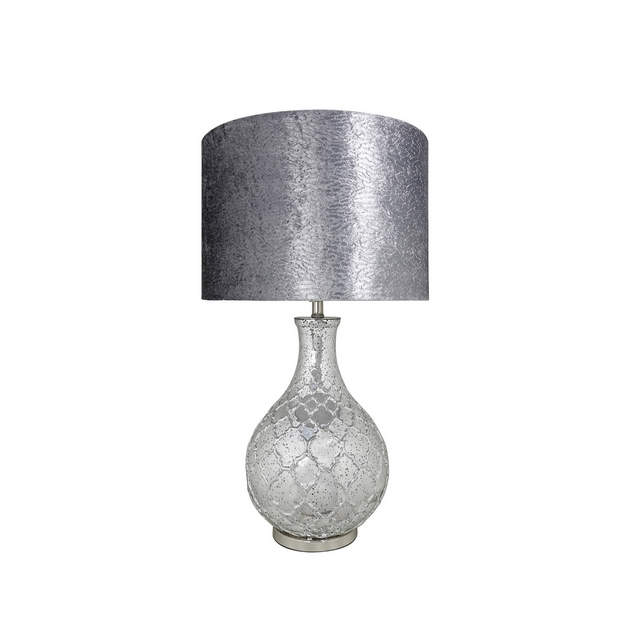 Decorative Silver Mercury Patterned Round Lamp