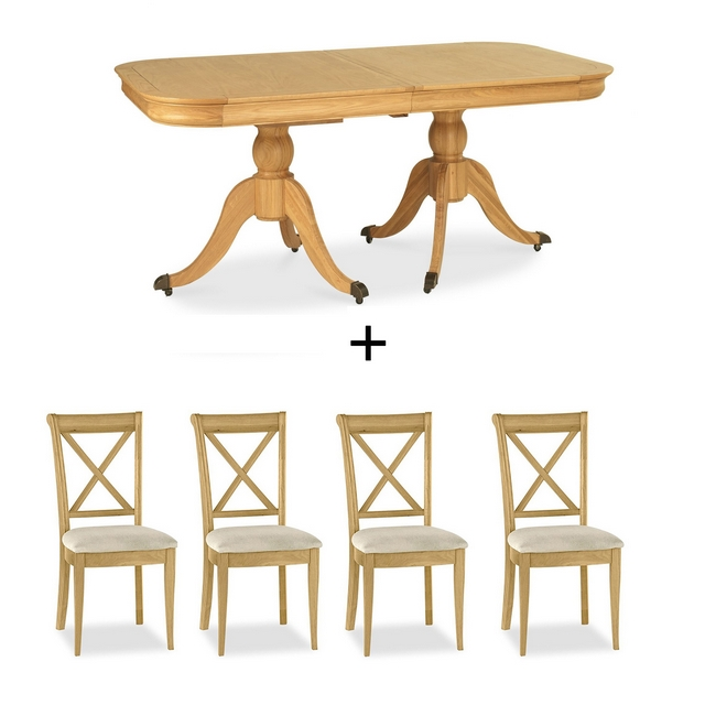 Cookes Collection Chateau Oak Dining Table And 4 X Back Chairs
