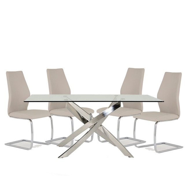 Anguilla Dining Table and 4 Taupe Chairs 1