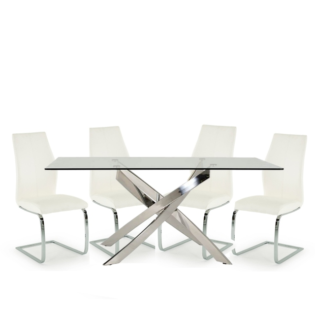 Anguilla Dining Table and 4 White Chairs 1