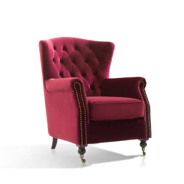 Dawson Wing Back Chair Berry 1