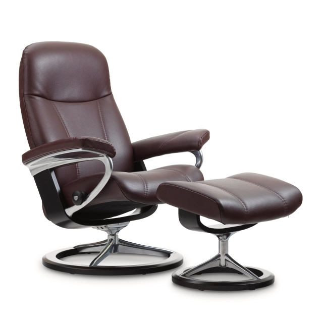 Stressless Consul Large Chair & Stool Signature Base 1