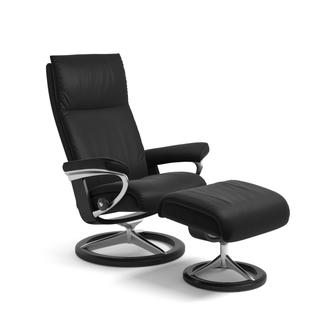 Stressless Aura Medium Chair & Stool Signature Base 1