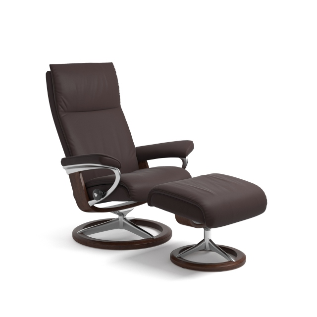 Stressless Aura Small Chair & Stool Signature Base 1