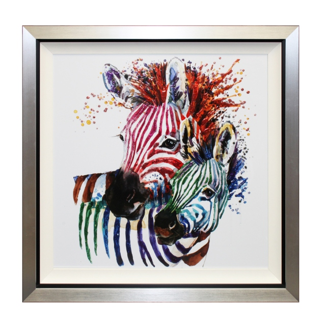 Party Zebras Liquid Art Framed Print 1
