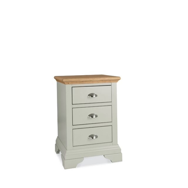 Cookes Collection Camden Soft Grey and Pale Oak 3 Drawer Nightstand