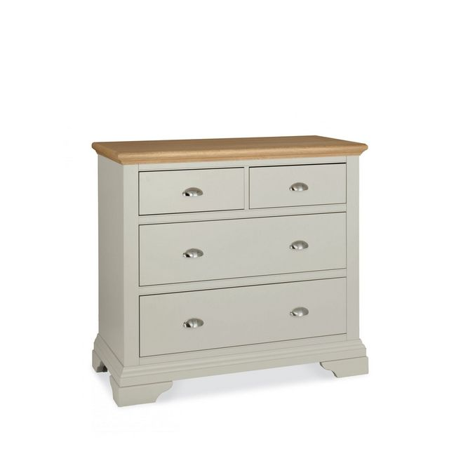 Cookes Collection Camden Soft Grey and Pale Oak 2 Over 2 Drawer Chest