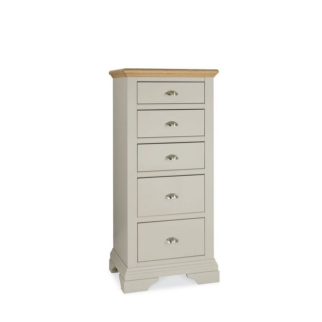 Cookes Collection Camden Soft Grey and Pale Oak Tall 5 Drawer Chest