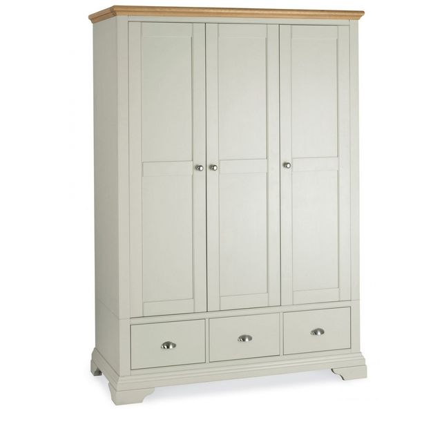 Cookes Collection Camden Soft Grey and Pale Oak Triple Wardrobe