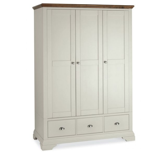 Cookes Collection Camden Soft Grey and Walnut Triple Wardrobe