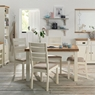 Two Tone 4-6 Leaf Table & 4 Slatted Chairs
