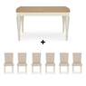 Cookes Collection Geneva Oak and Antique White Dining Table And 4 Chairs
