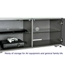 TV UNITS High Gloss 3 Door TV Unit With Wireless Phone Charging In Grey