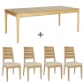 Ercol Romana Medium Extending Dining Table And 4 Slatted Chairs
