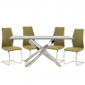 Anguilla Dining Table and 4 Olive Chairs 1