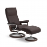 Stressless Aura Medium Chair & Stool Signature Base 3