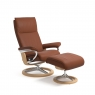 Stressless Aura Medium Chair & Stool Signature Base 4