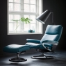 Stressless Aura Medium Chair & Stool Signature Base 6