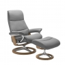 Stressless View Medium Chair & Stool Signature Base 1