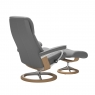Stressless View Medium Chair & Stool Signature Base 4